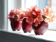 Fresh Cut Flower Ideas  Tuck blooms into cored apples for a festive floral display.