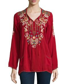 Carnation Long-Sleeve Embroidered Blouse, Size: LARGE (12), Lava - Johnny Was Collection