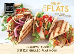 Get a FREE Grilled Flat at Corner Bakery Cafe! Select your location and RSVP. You get a FREE Grilled Flat (your choice of flavor) with a side Corner Bakery, Corner Cafe, Restaurant Deals, Restaurant Coupons, New Recipes, Favorite Recipes, Southwest Chicken, Best Coffee Shop, Bakery Cafe