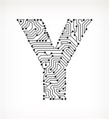 Letter Y Circuit Board on White Background vector art illustration