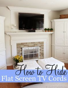 YES!!  How to easily hide wall mounted flat screen TV wires when you can't drill holes behind a wall to run the wires through. {In My Own Style.com}   And check out the window in front of the fireplace. Another great idea!