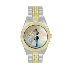 Wedding Day Whimsical Designer Art Two-Tone Watch Exquisitely gorgeous, you will find overwhelming appeal in our Stunning Wedding Dance Whimsical Designer Art Watch Collection. This unique and  magnificent collection features a stunning color palette inspired by the lush green gardens of the English Country-side. The perfect Wedding Gift! Designed by artist Marie-Jose Pappas of Innocent Originals.  http://www.zazzle.com/innocentoriginals*