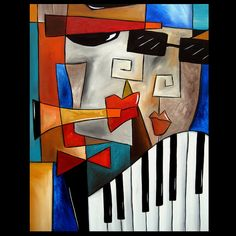 Darned Tootin - Original Large Abstract Contemporary Modern Art Music Painting by Fidostudio