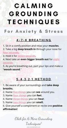 Using grounding techniques is effective in bringing you back to the present moment. Calm your body and mind with these 8 helpful exercises! Health Anxiety, Anxiety Tips, Deal With Anxiety, Anxiety Help, Stress And Anxiety, Anxiety Coping Skills, Therapy For Anxiety, Spirituality, Self Esteem