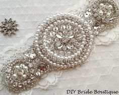 Rhinestone applique, ARTDECO crystal applique, wedding applique,  beaded patch for DIY wedding sash, bridal accessories on Etsy, $29.99