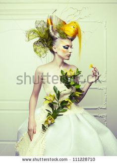 stock photo : Lady with avant-garde hair and bright make-up