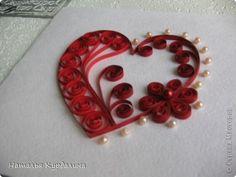 Открытка Квиллинг: Открытки Бумажные полосы Валентинов день. Фото 4