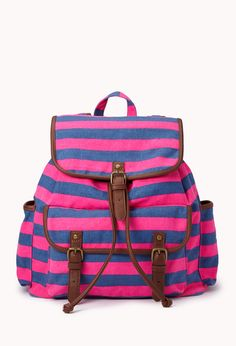 Day Trip Striped Backpack | FOREVER21 Pack your bag. We're going on a day trip! #Stripes #HotPink #FauxLeather