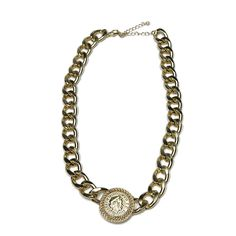 "Isabella Gold by TuVous - $15.00  This golden chain link statement piece has pizazz and spunk with its chunky chain and a touch of class with its golden coin accent. -""17 ½ + ""3 extender  Available at www.stylishvous.com"