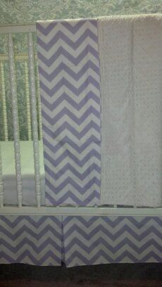 Baby crib skirt Polka Lavender wisteria & white . Matching Valance avble . Fits toddlers beds. Girl Nursery bedding decor ,   Free Shipping by PrettyThreads22 on Etsy