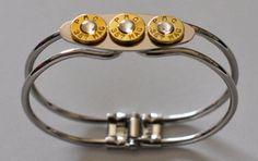 357 Magnum Triple Bullet Shell Bracelet Silver Plate 3 Swarovski Crystals Custom Made