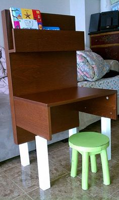 Ikea Malm bedside table to kid desk.  Could do better legs, but cute!  Maybe even wall mounted?