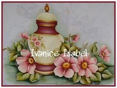 Jarro com flores Fabric Paint Designs, China Painting, Ginger Jars, Painting For Kids, Fabric Painting, Hand Embroidery, Decoupage, Stencils, Mandala