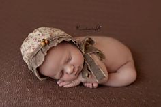 THOMASINA- Floral Newborn Fabric Bonnet. Vintage Style. Photo Prop. Baby Girl. $37.00, via Etsy.