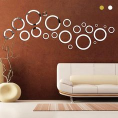 Círculos de ouro Prata Rodada Espelho de Parede Espelho Acrílico adesivos Decorativos de Parede 3D Home Decalques Da Arte Da Parede Decoração Da Sua Casa À Prova D' Água W35 em Adesivos de parede de Home & Garden no AliExpress.com | Alibaba Group