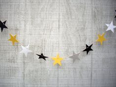 star garland graduation garland black gold and by JDooreCreations