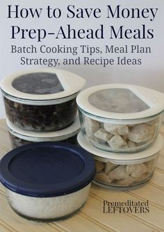 How to Save Money with Prep-Ahead Meals from Scratch - Buying meats in bulk when on sale and batch cooking the ingredients to use in quick and easy dinner recipes for your family saves money on groceries! This meal prep idea includes tips for a one hour batch cooking session, recipe ideas, and a meal plan for batch cooked ingredients.