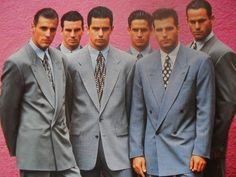 """Yuppie fashion- 80's Hugo Boss - young, upwardly mobile professionals that strove to acquire high-status possessions; men wore Italian double-breasted """"power suits"""" to work, and women donned similarly cut women's versions"""