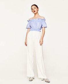Blue & White stripe crop top from Zara