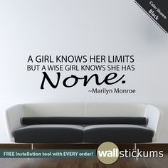 Wall Decal Marilyn Monroe Quote A girl knows her limits Living Room Bedroom Decor via Etsy