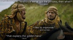 Game of Thrones funny scene. Bronn and Jaime