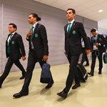 Rafael Marquez of Mexico (C-R) arrives with team-mates