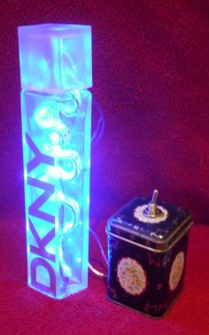 DKNY Womens Perfume Blue Recycled Bottle Battery Powered LED Nightlight Lamp by RecycledDesignLondon on Etsy Perfume Blue, Perfume Bottles, Battery Lamp, Womens Perfume, Brick Lane, Led Signs, Recycled Bottles, Portobello, Sell On Etsy