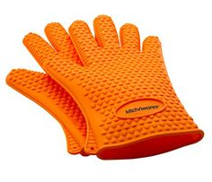 Heat Resistant Silicone Gloves Orange  Great for Use In Kitchen Handling High Temperature Food Protective Oven Grilling Baking Smoking  Cooking Gloves  Easier Than MittsBy Kitch N Wares -- Click on the image for additional details.(This is an Amazon affiliate link and I receive a commission for the sales)