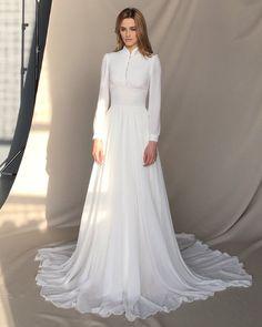 Long sleeve wedding dress - Light ivory chiffon bridal gown - APOLLO Style: A-l. Long sleeve wedding dress – Light ivory chiffon bridal gown – APOLLO Style: A-l… – Wedding Dress Chiffon, Wedding Dress Buttons, Muslim Wedding Dresses, Dream Wedding Dresses, Bridal Dresses, Bridal Hijab, Free People Wedding Dress, Lace Chiffon, Dresses Uk