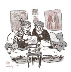 Sister writing times, with Cath and Wren from Fangirl. I haven't had as much time to draw lately, so this was really fun to do (also fun: screentones)! A Man Called Ove, Eleanor And Park, Rainbow Rowell, Book Fandoms, Fangirl Book, Fictional World, Stop Motion, So Little Time, Book Worms
