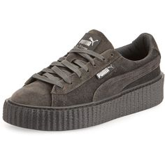 Fenty Puma By Rihanna Velvet Low-Top Creeper ($150) ❤ liked on Polyvore featuring shoes, sneakers, grey, puma shoes, platform sneakers, velvet platform sneakers, grey shoes and low profile sneakers