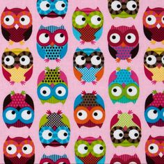 Items similar to Girly Bright Owl Animal Fabric, Bright Owl By Alice Kennedy for Timeless Treasures, Half Yard Bundle, 5 Print, 2 Yards Total on Etsy Owl Patterns, Fabric Patterns, Trois Crayons, Owl Fabric, Cotton Fabric, Nursery Fabric, Pillow Fabric, Pink Fabric, Timeless Treasures Fabric