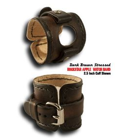 Dark Brown Rockstar Apple Leather Cuff Watch Band with Stitching