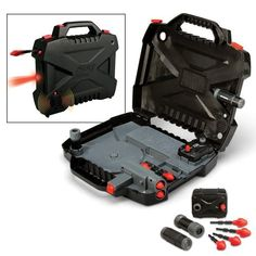 Spy Gear Agent Action Briefcase by Wild Planet. $29.99. All-in-1 spy briefcase with gadgets that work inside and outside the case. Includes Motion Alarm, Spy Scope, LED flashlight, dart launcher with 4 darts, and secret storage compartment. Product Description     The Agent Action Briefcase has all the tools you need for missions on the go. This mobile spy system contains a Motion Alarm, bright red LED flashlight and Spy Scope. The tools work inside the case or can be...