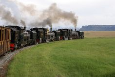 Three Garratts round the curve at Grootdraai on the Sanstone Narrow Gauge railway News Around The World, Around The Worlds, South African Railways, Abandoned Train, Train Pictures, Inner World, Old Trains, Train Engines, Steam Engine