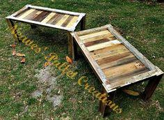 """RECYCLED PALLET WOOD:    We took two old wooden windows and replaced the glass with pallet wood to create 2 Coffee Tables. We put a coat of poly on top of the boards and window frames to keep the """"chippy"""" paint in place. We are asking $75 for each one. The table with the most white on the frame is 45"""" w x 23"""" d x 18"""" t. The other table has less white on the frame is 40"""" w x 25"""" d x 18"""" t. Item#1,365"""