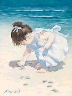 """Children in Art: Nancy Cole """"Finding Sea Shells"""" http://www.pinterest.com/aliceknueppel/beach/"""