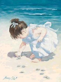 "Children in Art: Nancy Cole ""Finding Sea Shells"" http://www.pinterest.com/aliceknueppel/beach/"