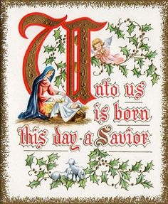Vintage Religious Christmas Card With A Quote From The Gospel According To Luke