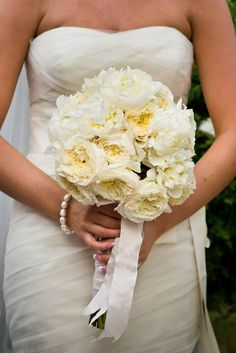 Wedding Bouquet white flowers Peonies, cabbage rose, English rose, hydrangea