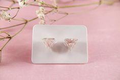 Minimalist transparent stud earrings epoxy resin real | Etsy