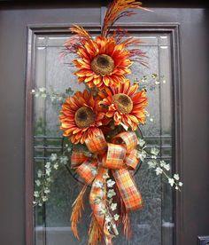 Fall Wreath Orange Sunflower Swag Front Door Wreath