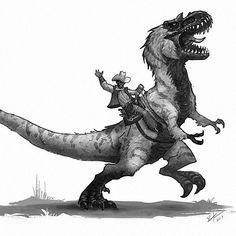 "1,649 Me gusta, 16 comentarios - Shaun Keenan (@shaunmichaelkeenan) en Instagram: ""Ride'em cowboy, and Happy Friday! #oldwestdinosaurs #oldwest #cowboy #dinosaurs #dinosaur…"""