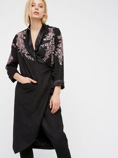 Wrap Tuxedo Duster | So beautiful and effortless, this lightweight tuxedo duster features shimmering floral embroidery throughout and easy ties for a wrapped look. Outer pocket details. Silky lapel and lining.