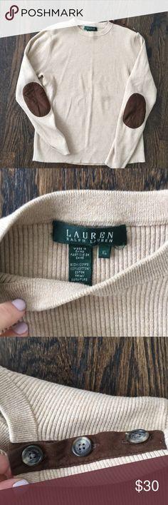 Ralph Lauren elbow patch sweater Excellent condition. Tag says xl but fits like a medium Lauren Ralph Lauren Sweaters Crew & Scoop Necks
