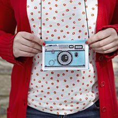 film camera cross stitch coin purse.