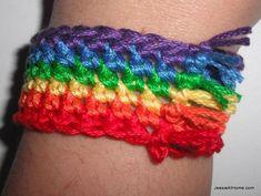 Rainbow Bracelet free crochet pattern | Craftsy
