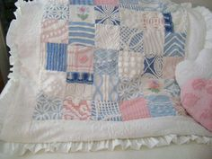 Vintage Chenille - PLUSH Pink, Blue & White, Vintage Chenille Quilt / Chair / Sofa /Throw / Baby / Crib - Etsy Treasure x 4. $160.00, via Etsy.