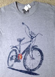 c8739aed291fd new Mens(Med) MILLER LITE BICYCLE T-SHIRT Soft Heather Gray Navy Blue Bike  Beer  Miller  GraphicTee