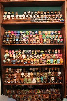 Funko collection - stack behind for 2 rows per shelf